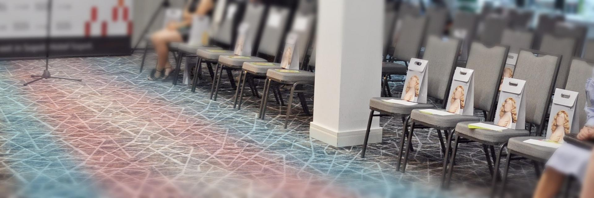 runway with trans flag colors on floor