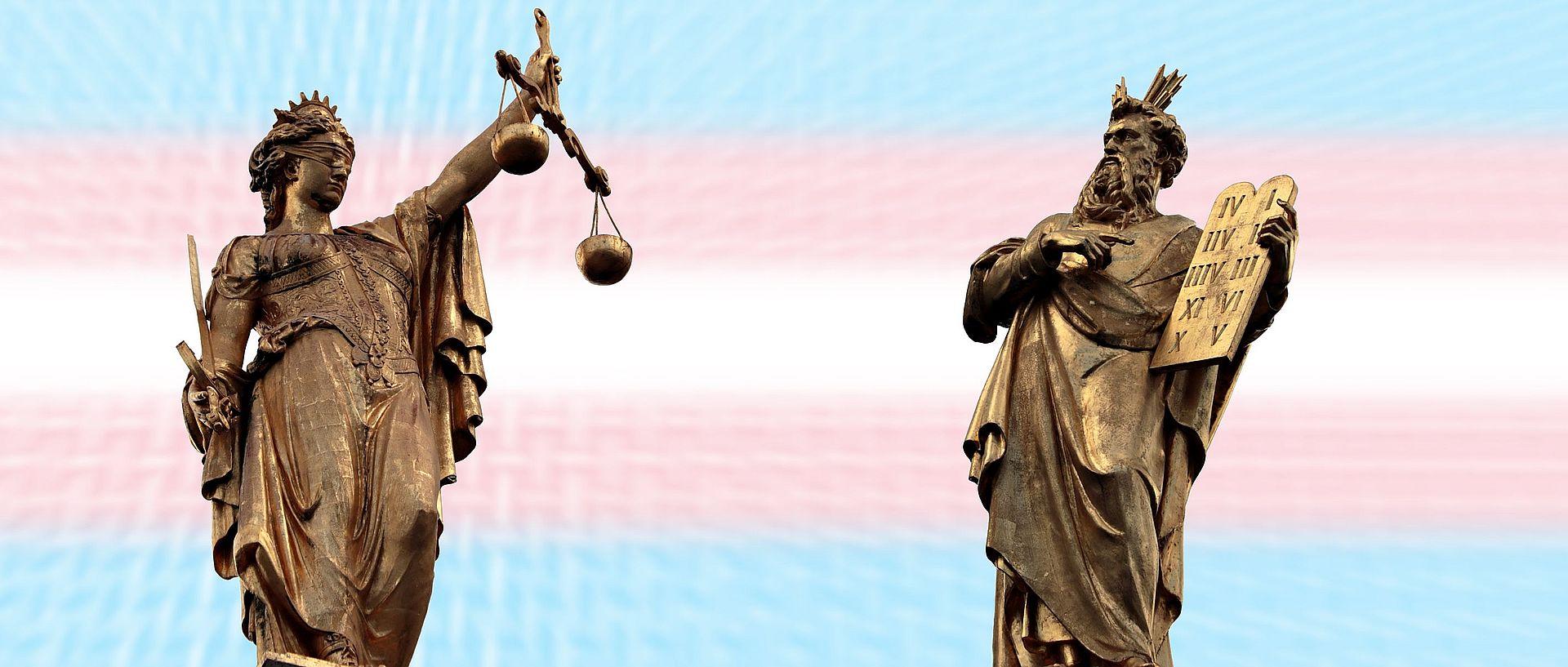 Sprawiedliwość - Termida na tle flagi trans pride