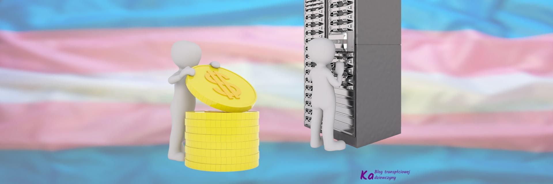 Zbiórka 2021, po lewej szara postać stojąca przy wielkich monetach, obok postać stojąca przy szafie serwerowej, na tle flagi trans